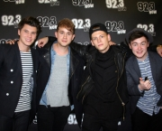 Rixton (Jake Roche, Charley Bagnall, Lewi Morgan and Danny Wilkin) in studio at 92.3 NOW FM in NYC with midday host Niko. (Photo: Joe Cingrana/92.3 NOW